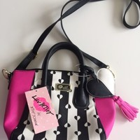 NWT Betsey Johnson Pink Black and White Stripe Mini Satchel Cross Body Purse