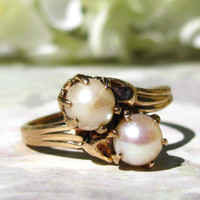 Antique Engagement Ring Elegant Duo Pearl Ring 10K Yellow Gold Antique Wedding Ring Vintage Promise Ring June Birthstone Ring Size 7!!