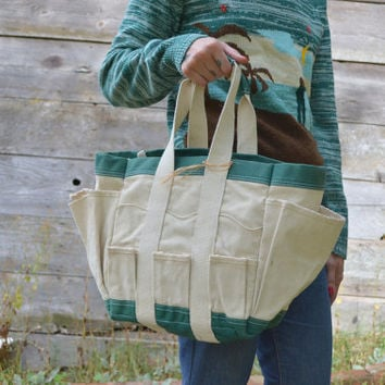 Vintage Green & White Work Wear Carpenter Canvas Field Tote Shopper Bag