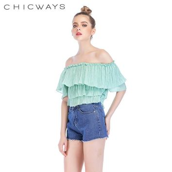 Chicways Summer Woman Tops Off Shoulder Crop Top double Ruffle Casual Elegant Solild vacation Bardot neck Frill High Street Girl