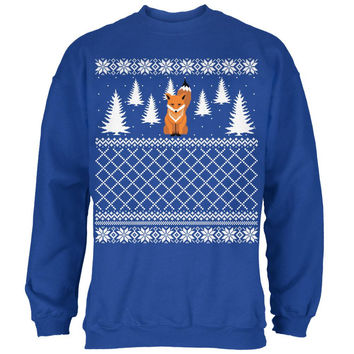 Fox Ugly Christmas Sweater Royal Adult Sweatshirt