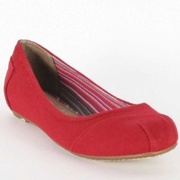 Toms - Womens Red Canvas Ballet Flat Shoes, Size: 7.5B(M) US Womens, Color: Red
