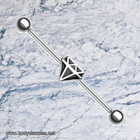 Black Diamond Industrial Barbell 14 ga Scaffold Piercing Body Jewelry 316L Surgical Stainless Steel