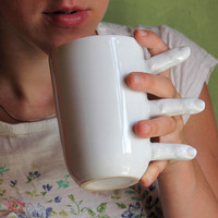Porcelain Mug with Fingers contemporary white ceramic mug for coffee or tea