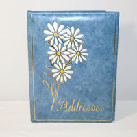 Vintage Address Book With Daisies, Home Office Organizer, 1970's