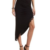 Lace-Trim Ruched Asymmetrical Skirt by Charlotte Russe