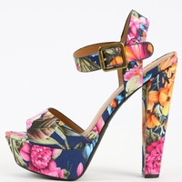 Floral Fabric Buckle Platform Chunky Heels