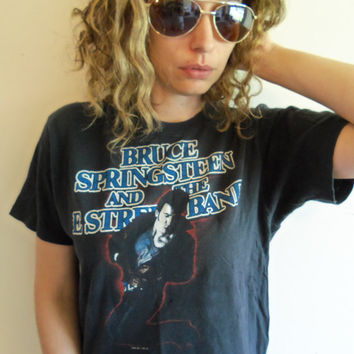 Vintage Faded Black Distresses Bruce Springsteen and the E Street Band Born in the USA 84-85 Tour Rock and Roll T Shirt