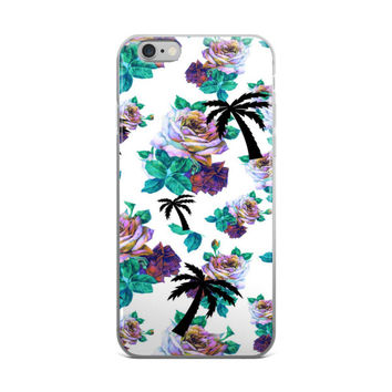 Palm Trees & Flowers Collage White Black Turquoise Pink & Purple 4 4s 5 5s 5C 6 6s 6 Plus 6s Plus 7 & 7 Plus Case