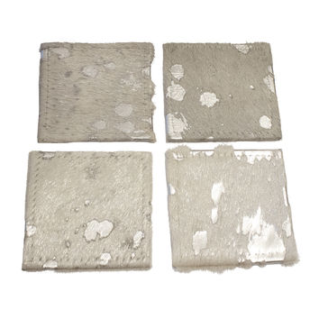 Metallic Cowhide Coasters