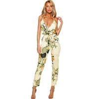 Plus Size Floral Print Rompers Womens Jumpsuit Sleeveless Deep Spaghetti Strap V Neck Beach Overalls Playsuit 2016 Summer U2