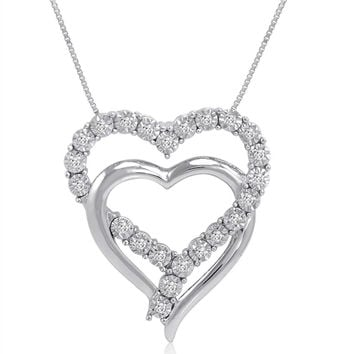 IGI Certified 1/10ct Diamond Heart Pendant-Necklace in Sterling Silver on an 18 inch Box Chain