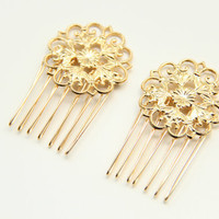 flowers Bridal hair comb  24k Gold plated Lace  by TheUrbanLady