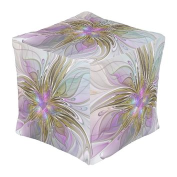 Floral Colorful Abstract Fractal With Pink & Gold Pouf