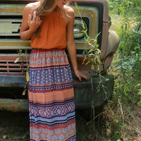 Desert Sunrise Orange Tribal Print Maxi Dress With Pleated Top & Peephole Back