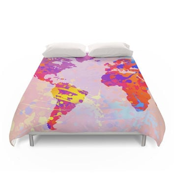 Society6 What A Colorful World Map Duvet Cover