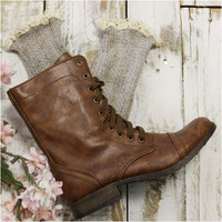 MISS TORI lace boot socks - oatmeal