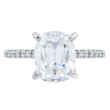 Elongated Cushion Old Mine Cut (OMC) Moissanite 4 Prongs Diamond Accent Ice Solitaire Ring