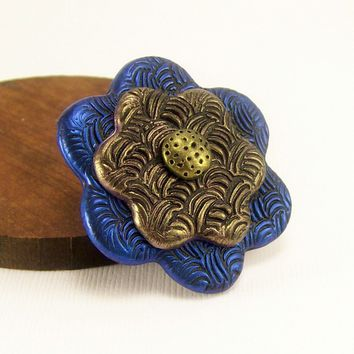 Shimmery Blue and Gold Flower Brooch Pin