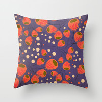 Bellflowers Throw Pillow by Anny Cecilia Walter