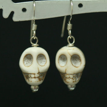 Skull Earrings , Halloween Earrings , Sterling Silver Dangle Earrings , White Skull Earrings , Costume Earrings  by Maggie McMane Designs