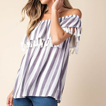 Off the Shoulder Top with Tassel Trim - White/Blue