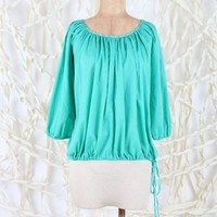 Balloon Sleeve Top with Puka Shell Drawstring   - Apparel