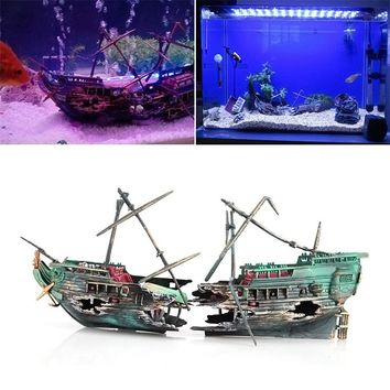 Sunk Wreck Boat Aquarium Ornament Ship Sailing Boat Destroyer Air Split Shipwreck Fish Tank Cave Decor  Hot Sale