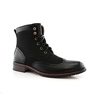 Men's MPX-808567 Lace Up Wing Tip Perforated Dress Boot