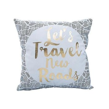 Let's Travel New Roads Metallic Gold Cushion Cover 43cm
