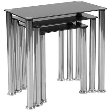 Riverside Collection Nesting Tables with Metal Legs