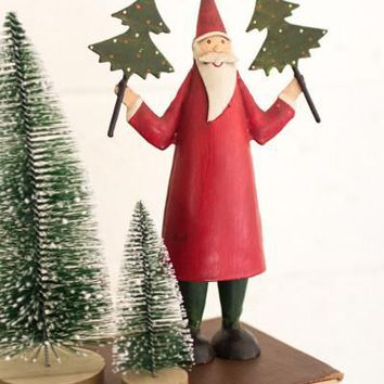 Recycled Painted Metal Santa Holding Two Trees