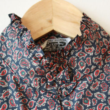 Paisley Ruffle High Neck Villager Button Up Blouse