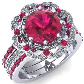 Camelia Round Ruby Accent Diamond and Ruby Halo Ring