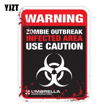 YJZT 15x20CM Personalized ZOMBIE Warning Infected Area Resident Evil Retro-reflective Car Sticker Decals C1-8025