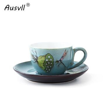 Ausvll Mugs Friend Elegant Gifts Retro Coffee Cup Afternoon Tea Water Cup Fashion Style With Spoon With Tray Print Ceramic Mugs