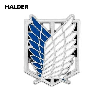 Cool Attack on Titan  Of The Metal Alloy Brooch Badge Lapel Pin Blue Enamel Brooch Patch Wings of dom Anime Pins AT_90_11