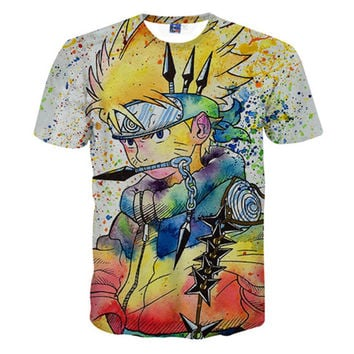 2016 Cartoon Cute Sexy Summer Short Sleeve Hip Hop 3D Anime T Shirt Men/Women ONE PIECE NARUTO Vegeta shirt tops