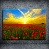 Sunrise flower Wall Art Oil Painting Prints on Canvas Famous Euro Landscape Pictures Unframed New Cuadros Decoracion YOQP188