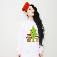 Adorable Dog And Cat Under the Christmas Tree BFF Fleece/ Sweatshirt (Ugly Sweater)
