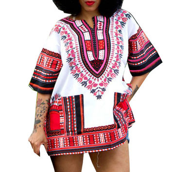 Traditional African Clothing for Womens Shirt  Mens Classic Bazin Riche Dashiki Tops Plus Size Autumn Print Blouses 10716