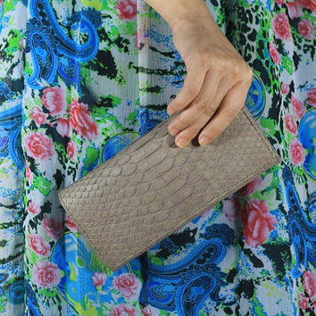 Genuine Exotic Python CALLISTA Purse in Grey/Khakis Color