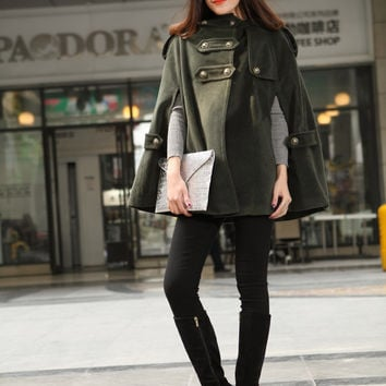 Army Green Hooded Cape Wool Coat Women Cloak Hoodie Cashmere Coats Winter Cape Cloak Double Breasted Wool Cape Coat-WH018 M,L