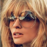 New big circle round frame Brand Designer sunglasses bicyclic female fashion personality sunglasses for Women