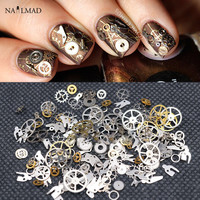 1 Box Steampunk Nail Decorations Ultra Thin Wheel Gear 3D Nail Decoration Steam Punk Metal Nail Art Decoration