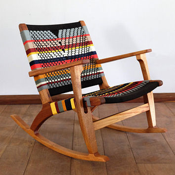 Mid Century Modern Rocking Chair, Accent Chair, Lounger Chair, colors, Handwoven Seat, black, stripes,  Linear Pattern, Retro Modern Rustic