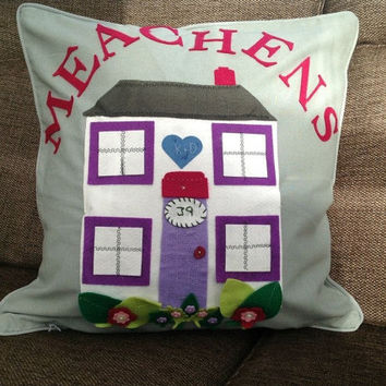 Personalised new home or newly wed couple pillow cushion with name customised above the cottage