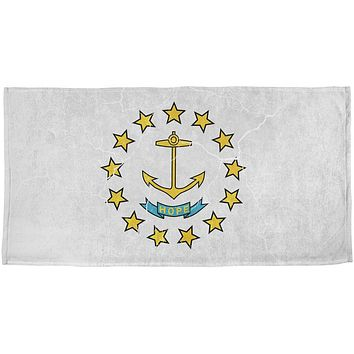 Rhode Island Vintage Distressed State Flag All Over Beach Towel