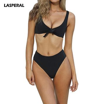 LASPERAL 2017 Women Bikini Set Sexy V Neck Knot High Waist Two Pieces Swimsuit Swimwear Brazilian Biquini Beachwear Bathing Suit