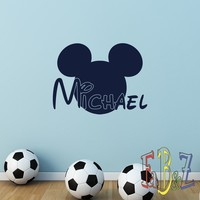 Personalized Name Wall Decal Mickey Mouse Vinyl Decals Cartoon Stickers Boy Nursery Kids Room Bedroom Wall Art Home Decor M053
